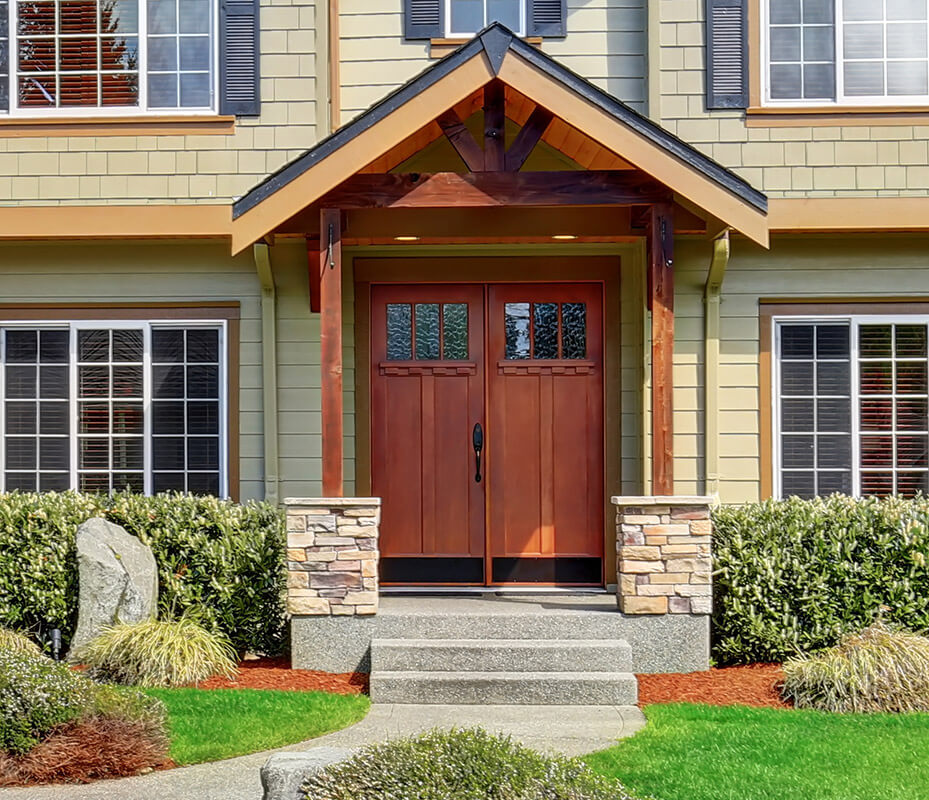 ... Large, Reddish Brown, Double Wide Door On A Traditional Home