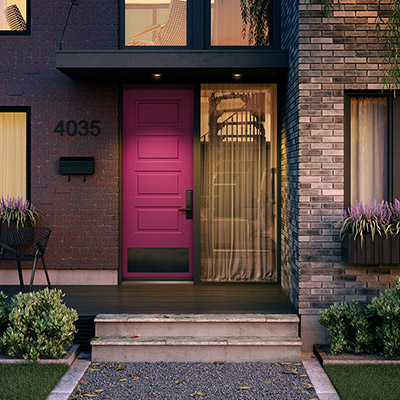An uber-modern fuschia door with bottom glass insert