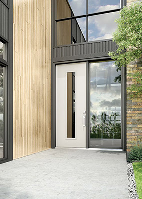 A sleek European style front door with modern, custom glass insert