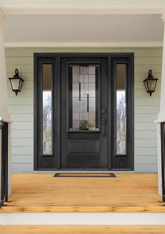 ... Black entry door with modern glass insert and full double sidelites Brown fibreglass ... & 2018 Door Buyeru0027s Guide | Nordik Windows u0026 Doors