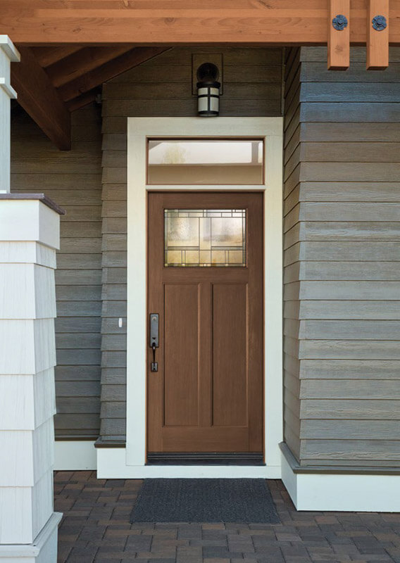 Brown Fibregl Front Door With Small Rectangular Transom And Quarter Gl Insert