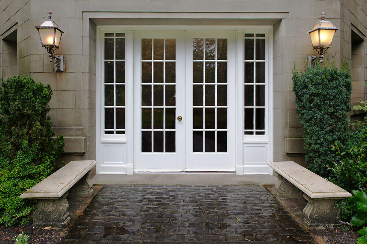 A double french door with Sidelites.
