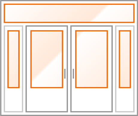 An image identifying the glass inserts of a standard Nordik Door.
