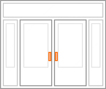 An image identifying the hardware of a standard Nordik Door.