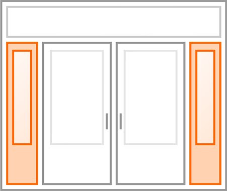 An image identifying the matching sidelites of a standard Nordik Door.