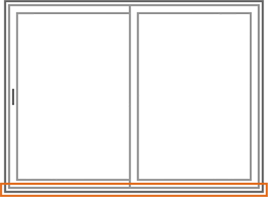 An image identifying the threshold of a Nordik Patio Sliding Door.