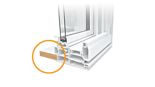 Nordik double slider windows feature a PVC-cladded interior wood extension.