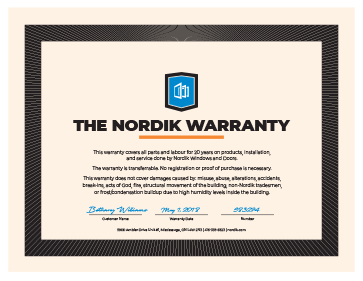 An image of the Nordik Warranty document.