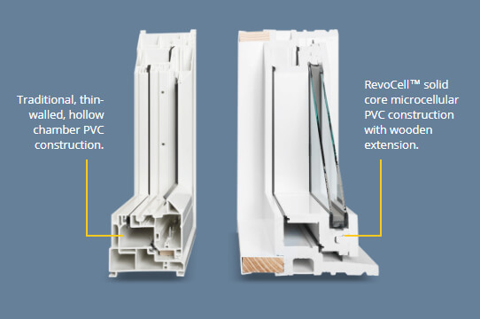 A comparison between a mPVC window and a PVC Hollow Chamber Window.