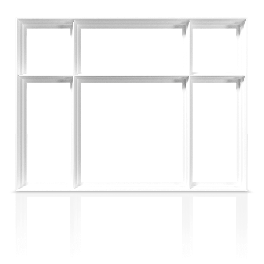 An example of a RevoCell® Window showing the frame and mullions only.