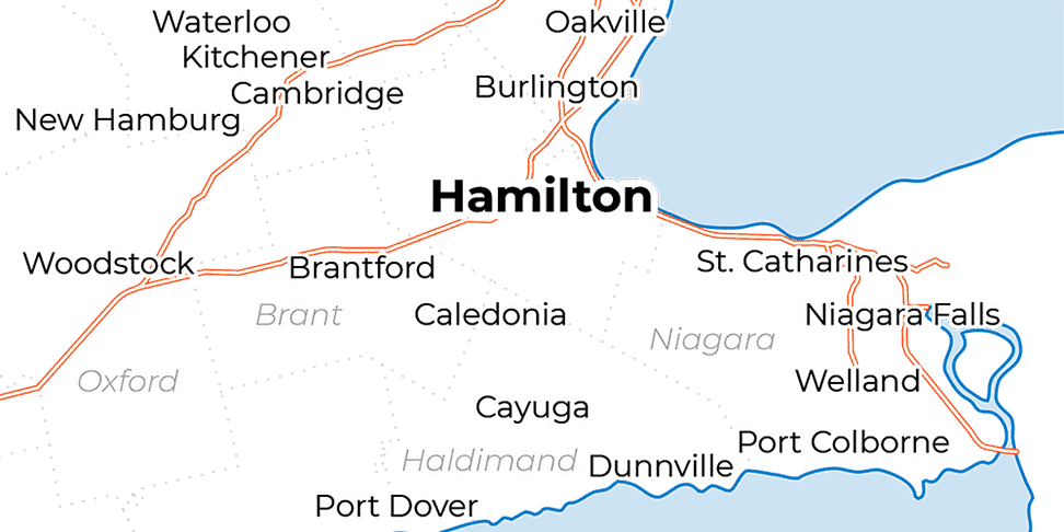 A map showing Hamilton and the regional municipalities of Niagara, Waterloo, and Haldimand