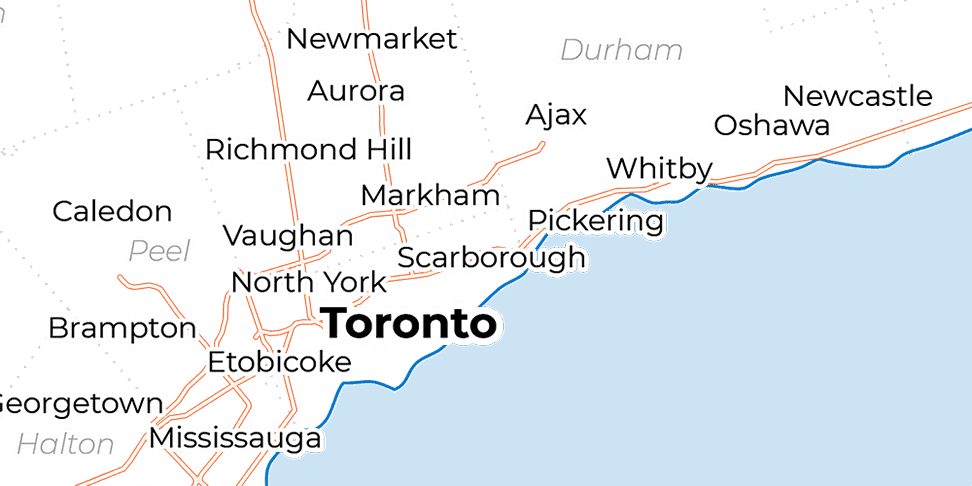 A map showing the downtown Toronto and the surrounding areas of York and Durham