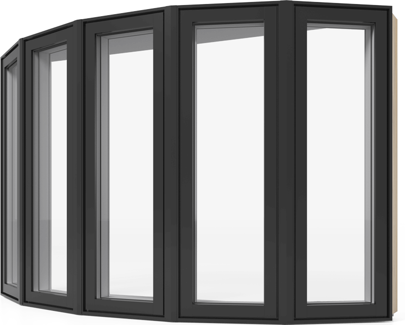 A RevoCell bow window with black exterior colour which is made up of several RevoCell casement windows