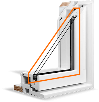 A cross section of the RevoCell Window showing the double-glazed Argon Gas Thermal Glass Unit.