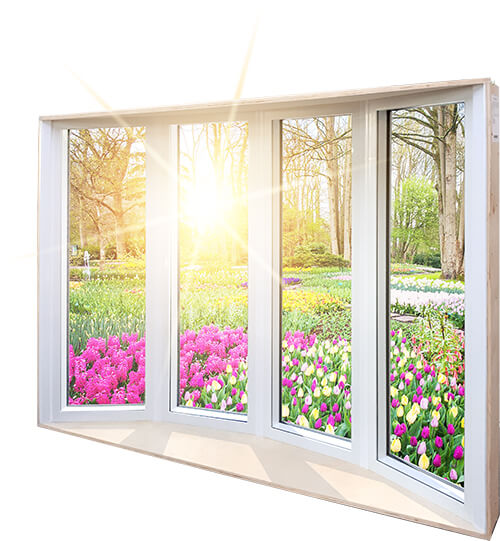An example of a Nordik bay & bow window with 20% more glass than a traditional PVC window.