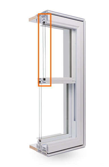 A cross section of the double hung Window showing the double-glazed Argon Gas Thermal Glass Unit.