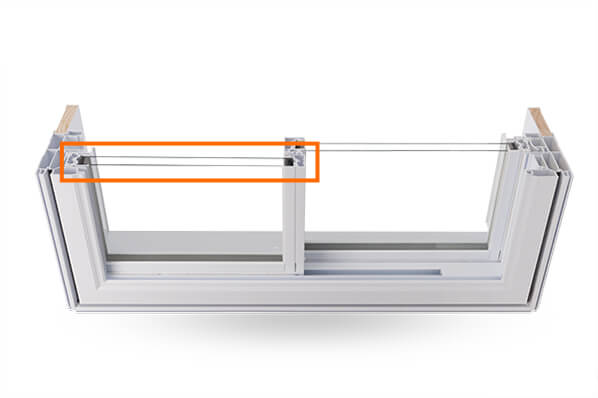 A cross section of the double slider Window showing the double-glazed Argon Gas Thermal Glass Unit.