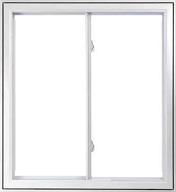 A White Double slider Window Section.